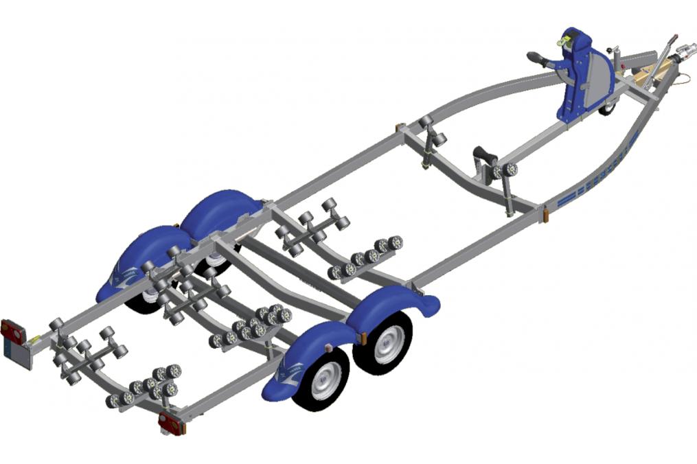 remorque multi rouleaux 2 essieux frein e nautilus n1452mf 75. Black Bedroom Furniture Sets. Home Design Ideas