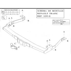 ATTELAGE CLASSIQUE POUR RENAULT TRAFIC / OPEL VIVARO / NISSAN PRIMASTAR